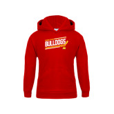 Youth Red Fleece Hood-Bulldogs Hockey Slanted