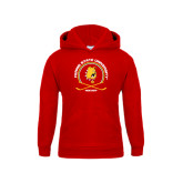 Youth Red Fleece Hood-Hockey Circle w/ Sticks