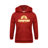 Youth Red Fleece Hoodie-Back-to-Back-to-Back GLIAC Champions Volleyball
