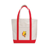 Contender White/Red Canvas Tote-Bulldog Head