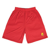 Syntrel Performance Red 9 Inch Length Shorts-Bulldog Head