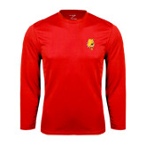 Performance Red Longsleeve Shirt-Bulldog Head