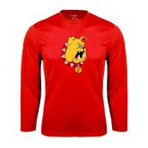 Syntrel Performance Red Longsleeve Shirt-Bulldog Head
