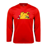 Performance Red Longsleeve Shirt-Bulldog Head Peeking