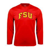Performance Red Longsleeve Shirt-Arched FSU
