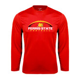 Performance Red Longsleeve Shirt-Ferris State Football Horizontal