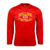 Performance Red Longsleeve Shirt-Bulldog Football Arched