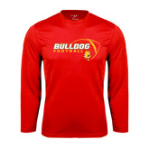 Performance Red Longsleeve Shirt-Bulldog Football Flat w/ Ball