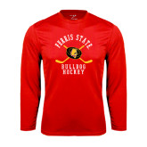 Syntrel Performance Red Longsleeve Shirt-Hockey Arched w/ Sticks and Puck
