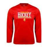 Performance Red Longsleeve Shirt-Ferris State Hockey Stacked