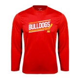 Syntrel Performance Red Longsleeve Shirt-Bulldogs Hockey Slanted