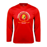 Performance Red Longsleeve Shirt-Hockey Circle w/ Sticks