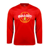 Performance Red Longsleeve Shirt-Basketball Arched w/ Ball