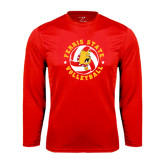 Performance Red Longsleeve Shirt-Volleyball Ball w/ Stars