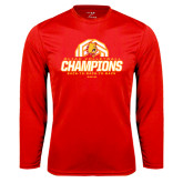 Performance Red Longsleeve Shirt-Back-to-Back-to-Back GLIAC Champions Volleyball