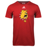 Adidas Climalite Red Ultimate Performance Tee-Bulldog Head