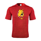 Performance Red Heather Contender Tee-Bulldog Head