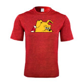 Performance Red Heather Contender Tee-Bulldog Head Peeking