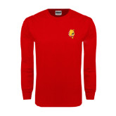 Red Long Sleeve T Shirt-Bulldog Head