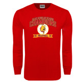 Red Long Sleeve T Shirt-2015 GLIAC Volleyball Champions