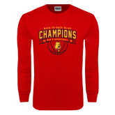 Red Long Sleeve T Shirt-Back-to-Back GLIAC Champions Mens Basketball 15-16