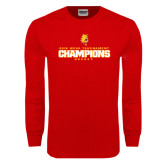 Red Long Sleeve T Shirt-2016 WCHA Tournament Champions Hockey