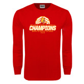 Red Long Sleeve T Shirt-Back-to-Back-to-Back GLIAC Champions Volleyball