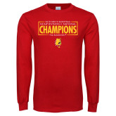 Red Long Sleeve T Shirt-2018 NCAA Mens Basketball National Champions - Box