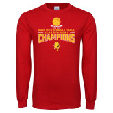 Red Long Sleeve T Shirt-2018 NCAA Mens Basketball National Champions - Stacked