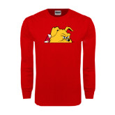 Red Long Sleeve T Shirt-Bulldog Head Peeking