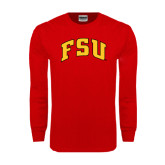 Red Long Sleeve T Shirt-Arched FSU