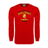 Red Long Sleeve T Shirt-Bulldogs Est. 1884 Arched