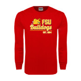 Red Long Sleeve T Shirt-Bulldogs Est. 1884 Stacked
