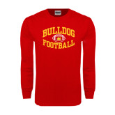 Red Long Sleeve T Shirt-Bulldog Football Arched