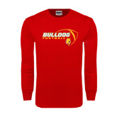 Red Long Sleeve T Shirt-Bulldog Football Flat w/ Ball