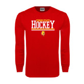 Red Long Sleeve T Shirt-Ferris State Hockey Stacked