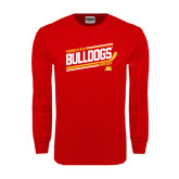 Red Long Sleeve T Shirt-Bulldogs Hockey Slanted