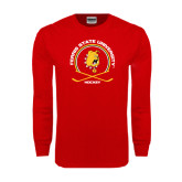 Red Long Sleeve T Shirt-Hockey Circle w/ Sticks