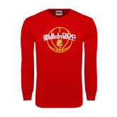 Red Long Sleeve T Shirt-Basketball Arched w/ Ball