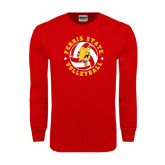 Red Long Sleeve T Shirt-Volleyball Ball w/ Stars