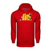 Under Armour Red Performance Sweats Team Hoodie-Bulldog Head Peeking