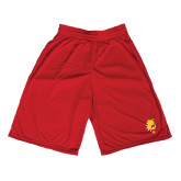 Midcourt Performance Red 9 Inch Game Short-Bulldog Head