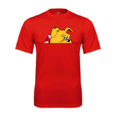 Performance Red Tee-Bulldog Head Peeking