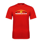 Performance Red Tee-Ferris State Football Horizontal