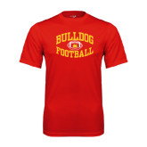 Performance Red Tee-Bulldog Football Arched