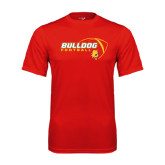 Performance Red Tee-Bulldog Football Flat w/ Ball