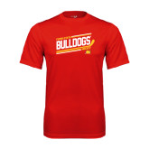 Performance Red Tee-Bulldogs Hockey Slanted