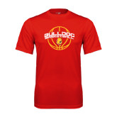 Performance Red Tee-Basketball Arched w/ Ball