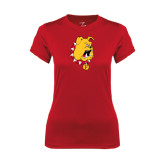 Ladies Syntrel Performance Red Tee-Bulldog Head