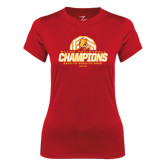 Ladies Syntrel Performance Red Tee-Back-to-Back-to-Back GLIAC Champions Volleyball
